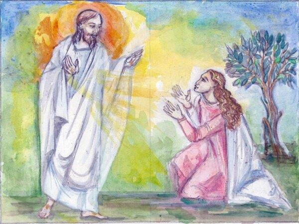 Bozzetto-cinerario- Cristo-Maria-Maddalena